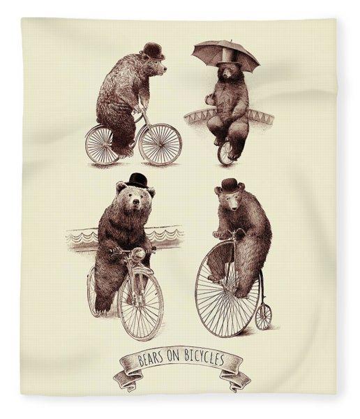 Bears On Bicycles Fleece Blanket