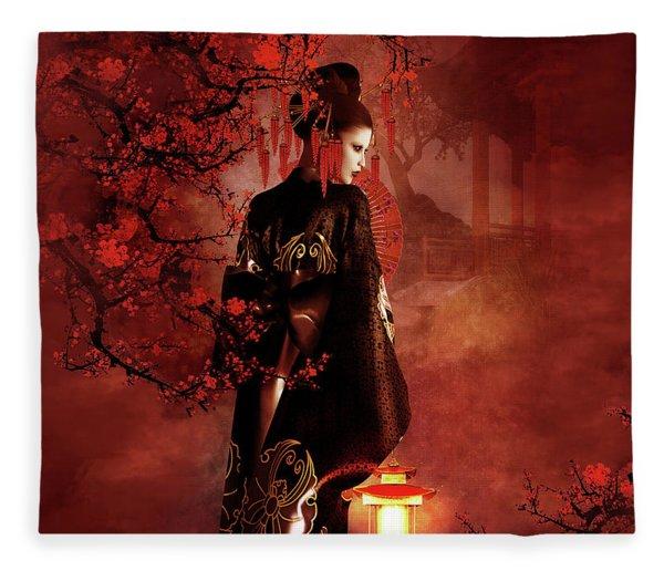Sakura Red Fleece Blanket