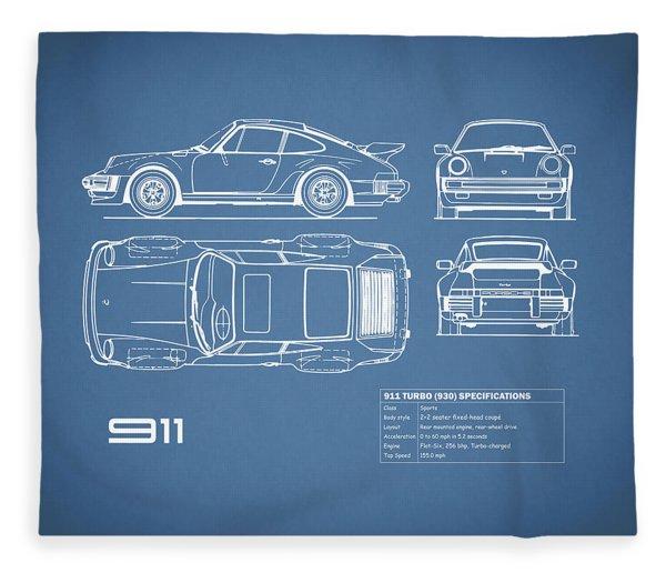 The 911 Turbo Blueprint Fleece Blanket