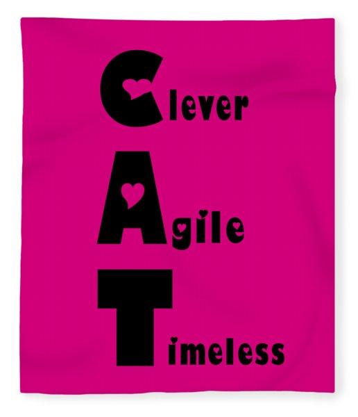 Cat With Black Words Fleece Blanket