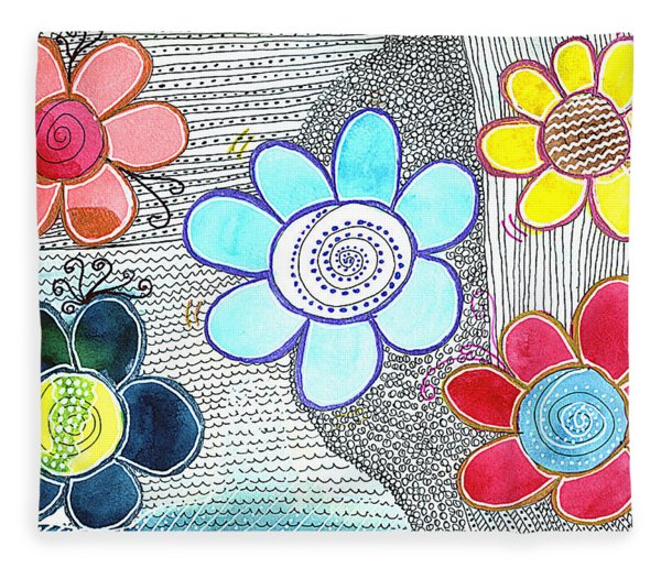 Fleece Blanket featuring the drawing We Are All The Same, But Different by Bee-Bee Deigner
