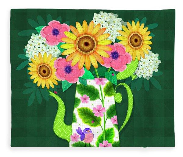 Summer Flowers In Coffee Pot Fleece Blanket