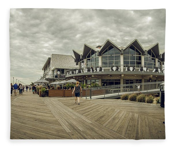 Asbury Park Boardwalk Looking South Fleece Blanket
