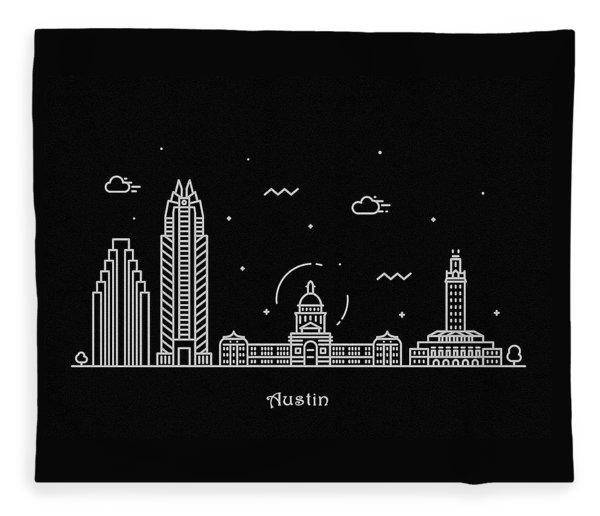 Austin Skyline Travel Poster Fleece Blanket