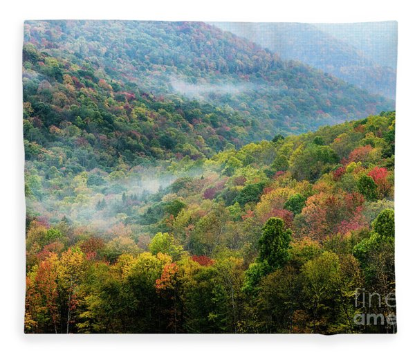 Autumn Hillsides With Mist Fleece Blanket