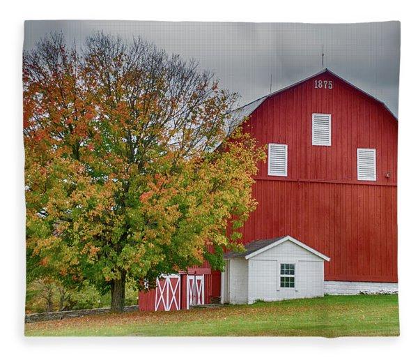 Autumn Red Barn Fleece Blanket