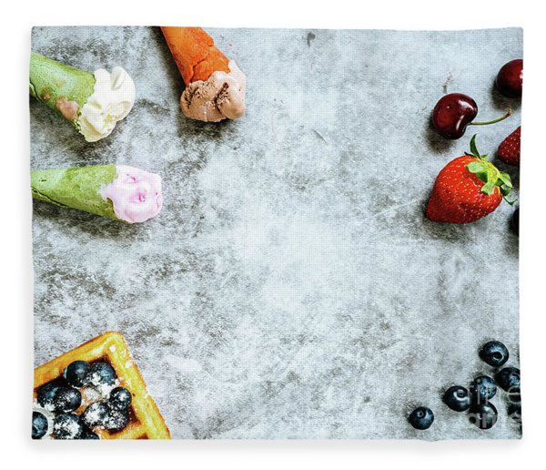 Background Of Tasty And Sweet Foods With Red Fruits And Waffles, Fleece Blanket
