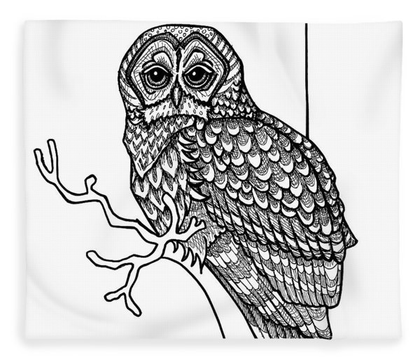 Fleece Blanket featuring the drawing Barred Owl by Amy E Fraser