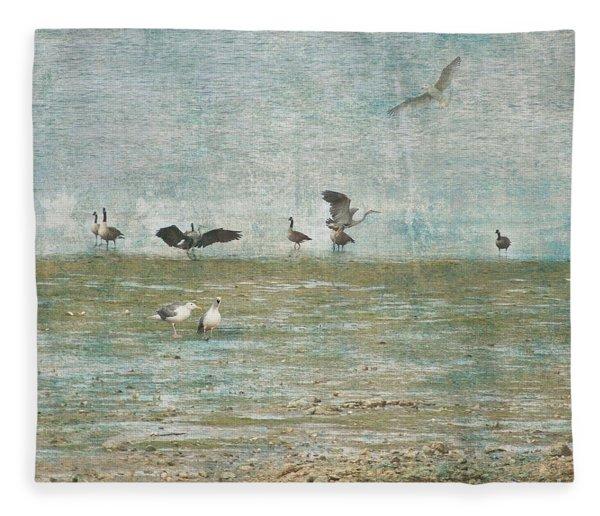 Beach And Birds Fleece Blanket