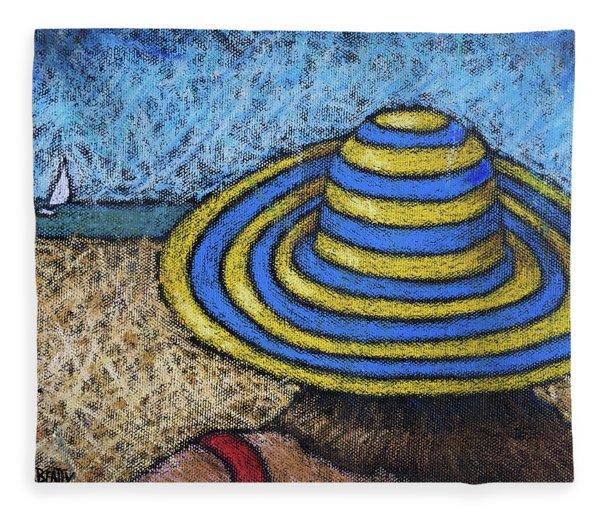 Beach Hat Blue And Yellow Fleece Blanket
