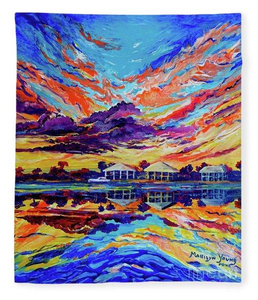 Beach House Reflections Fluid Acrylic Fleece Blanket