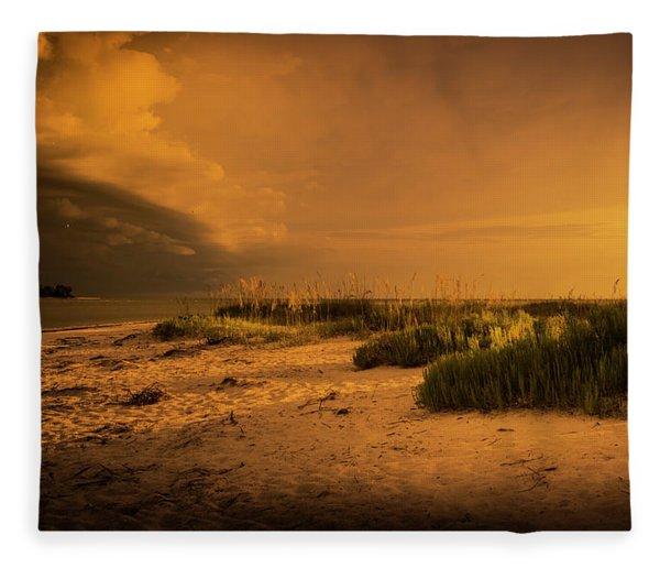 Beach Storm Front Fleece Blanket