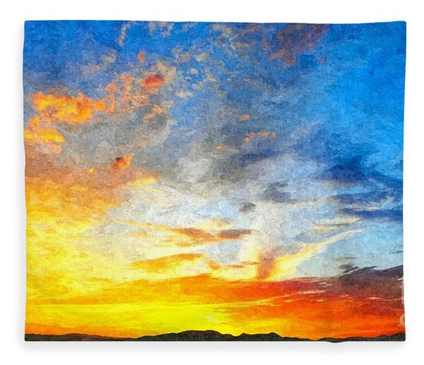 Beautiful Sunset In Landscape In Nature With Warm Sky, Digital A Fleece Blanket