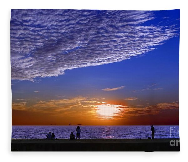 Beautiful Sunset With Ships And People Fleece Blanket
