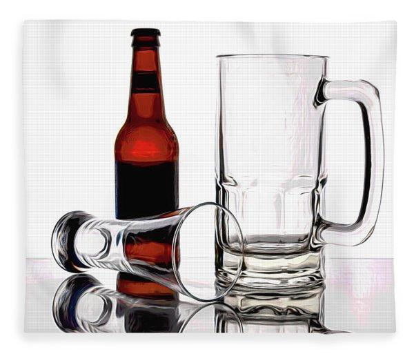 Beer Bottle And Glasses Fleece Blanket