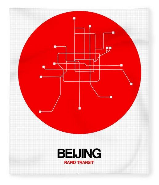 Beijing Red Subway Map Fleece Blanket