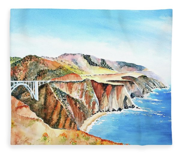 Bixby Bridge 3 Big Sur California Coast Fleece Blanket