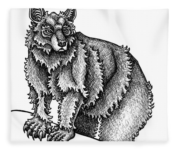 Fleece Blanket featuring the drawing Black Bear by Amy E Fraser