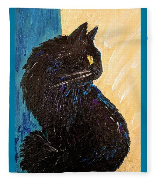 Black Cat In Sunlight Fleece Blanket
