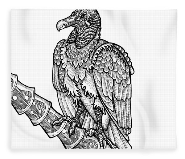 Fleece Blanket featuring the drawing Black Vulture by Amy E Fraser