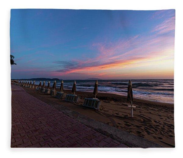 Blue Hour At The Beach Fleece Blanket