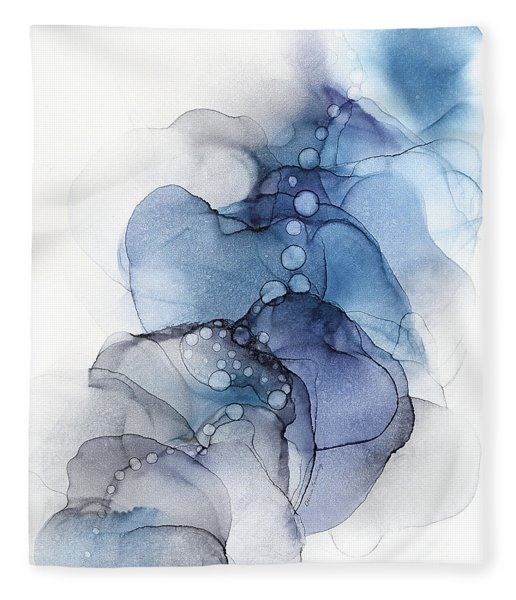 Blue Petal Dots Whispy Abstract Painting Fleece Blanket