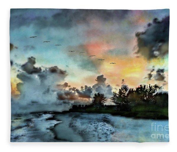 Blue Sunset Over Sanibel Island Fleece Blanket