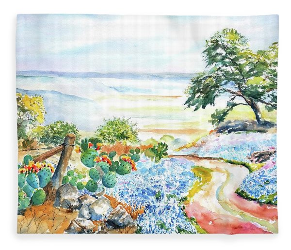 Bluebonnets - Texas Hill Country In Spring Fleece Blanket