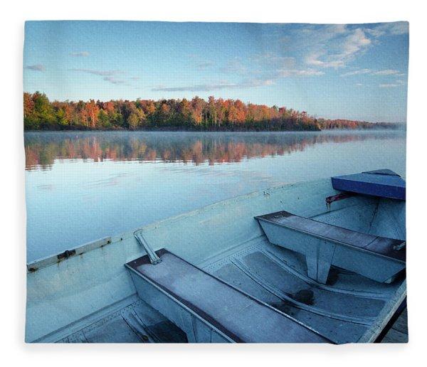 Boat On The Lake Fleece Blanket