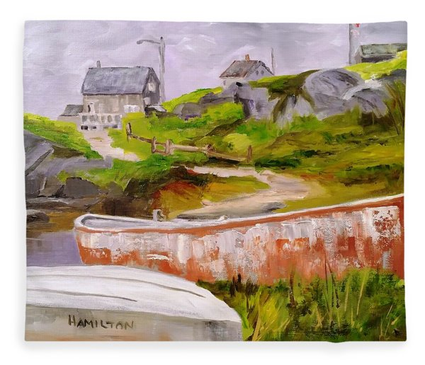 Boats At Peggy's Cove Fleece Blanket