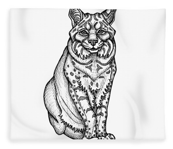 Fleece Blanket featuring the drawing Bobcat by Amy E Fraser