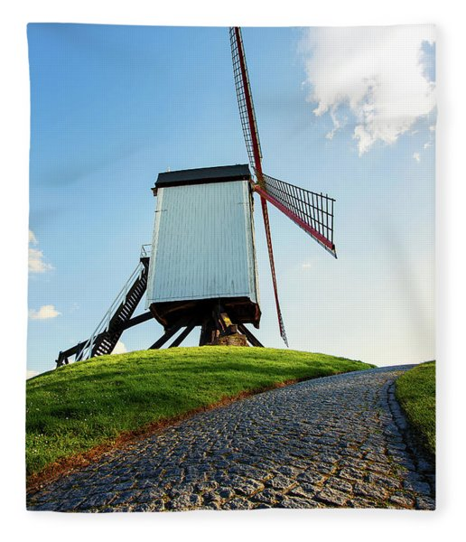 Bonne Chiere Windmill Bruges Belgium Fleece Blanket