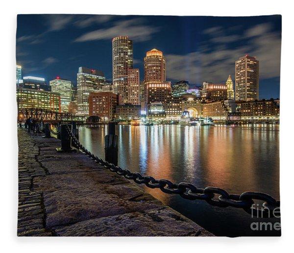 Boston At Blue Hour Fleece Blanket