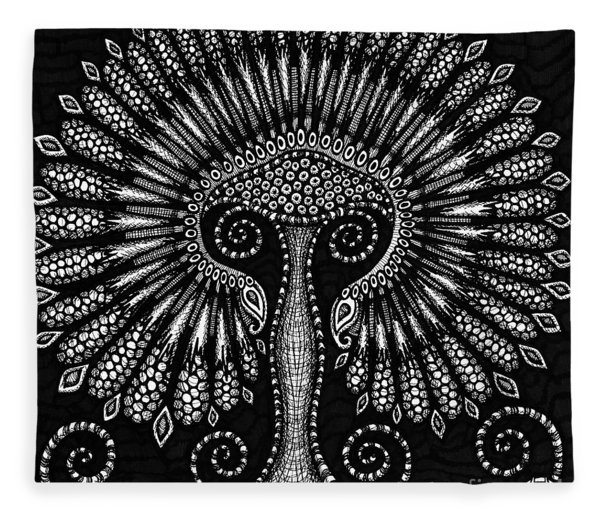 Fleece Blanket featuring the drawing Botanical Bioform 6 by Amy E Fraser
