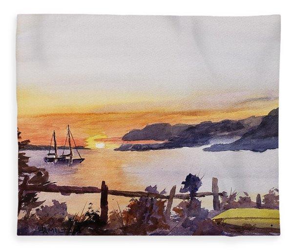 Brakey Bay Sunset Fleece Blanket