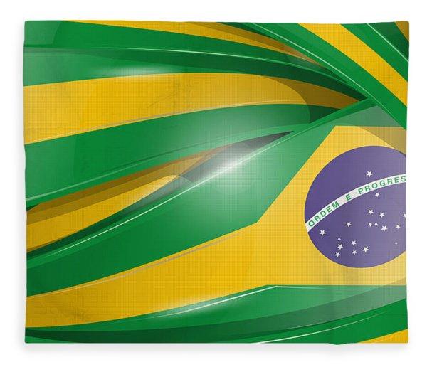 Brazil  Background With Flag Set  Fleece Blanket