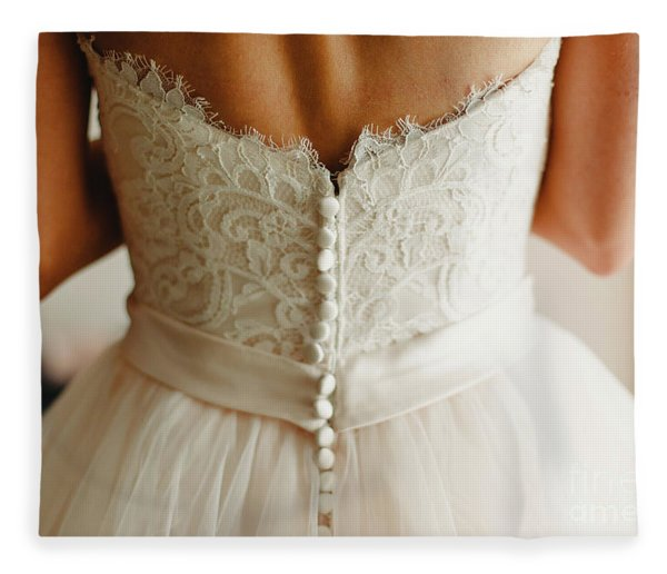 Bride Getting Ready, They Help Her By Buttoning The Buttons On The Back Of Her Dress. Fleece Blanket