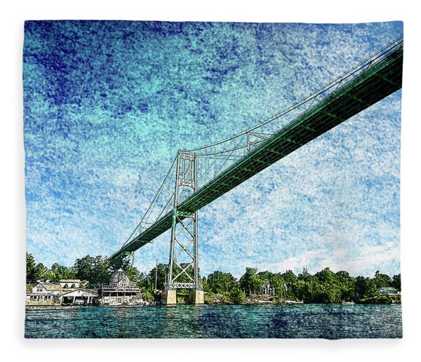 Bridge Over St Lawrence River Fleece Blanket