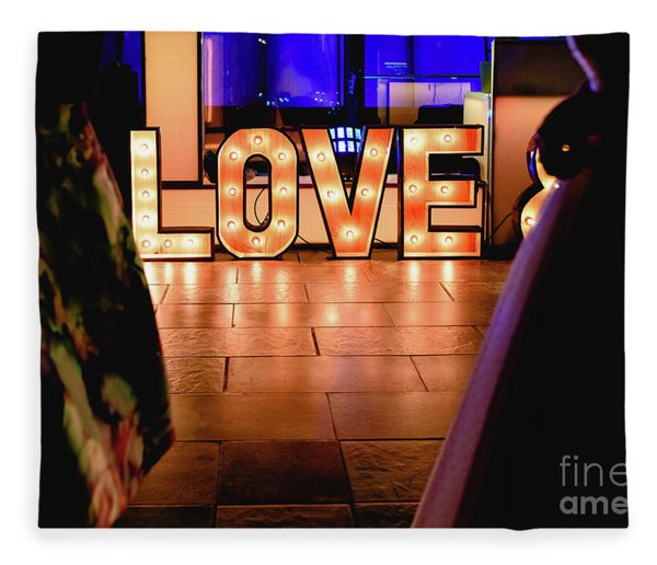 Bright Wooden Letters With Word Love In A Party Fleece Blanket