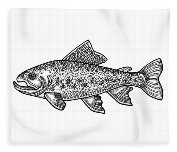 Fleece Blanket featuring the drawing Brook Trout by Amy E Fraser