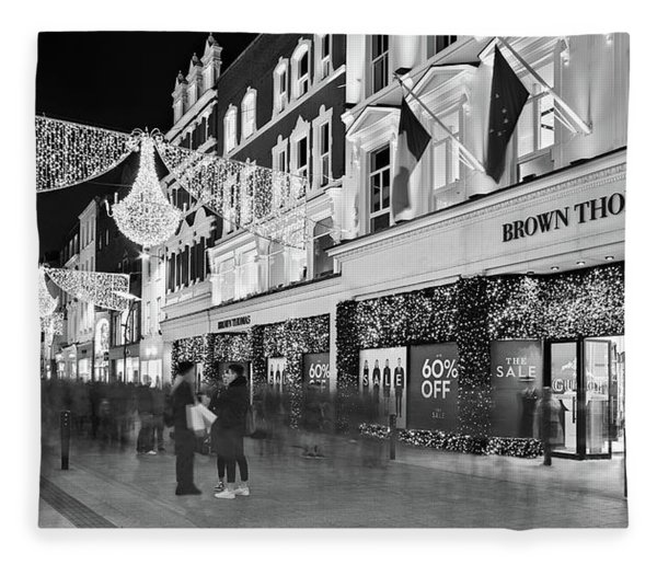 Fleece Blanket featuring the photograph Brown Thomas On Grafton Street At Night - Dublin by Barry O Carroll