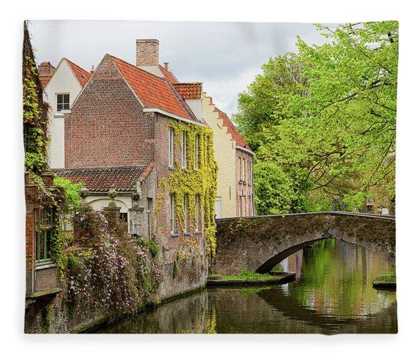 Bruges Footbridge Over Canal Fleece Blanket