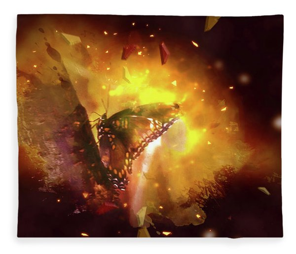 Butterfly Color Explosion. Fleece Blanket