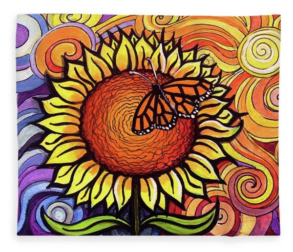Butterfly Sunflower Fleece Blanket