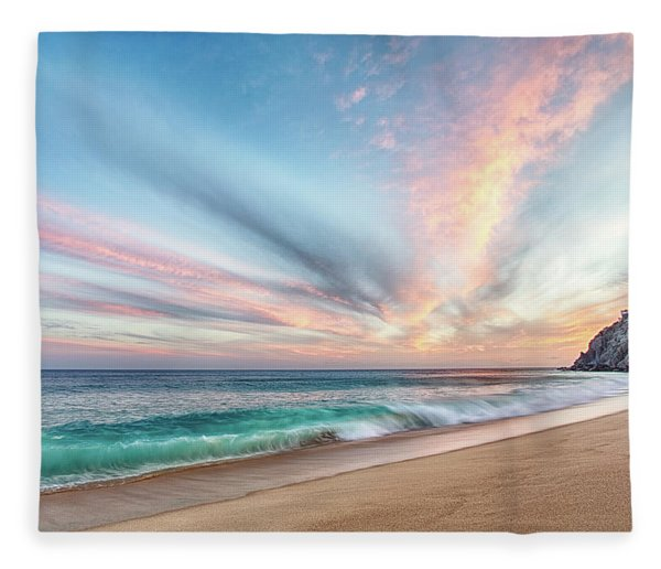 Cabo San Lucas Beach Wave Sunset Fleece Blanket