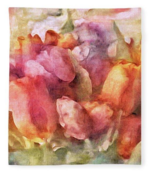 Fleece Blanket featuring the mixed media Captured Spring by Susan Maxwell Schmidt