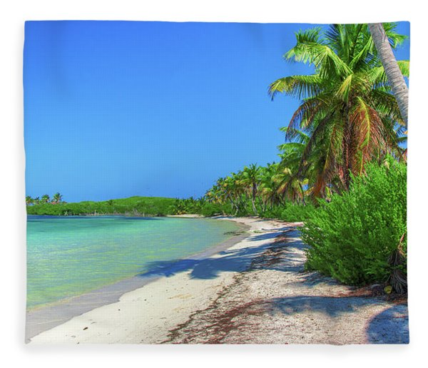Caribbean Palm Beach Fleece Blanket