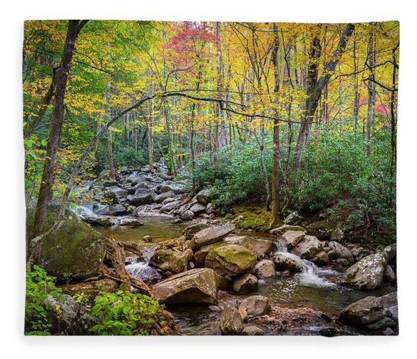 Cascading Waters In Autumn Fleece Blanket