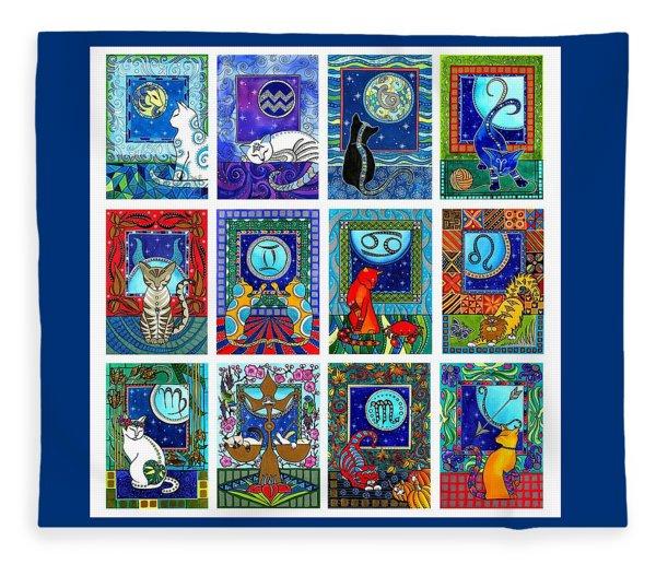 Cat Zodiac Paintings  Fleece Blanket