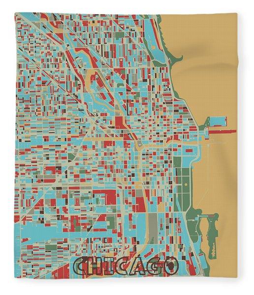 Chicago Map Retro 3 Fleece Blanket